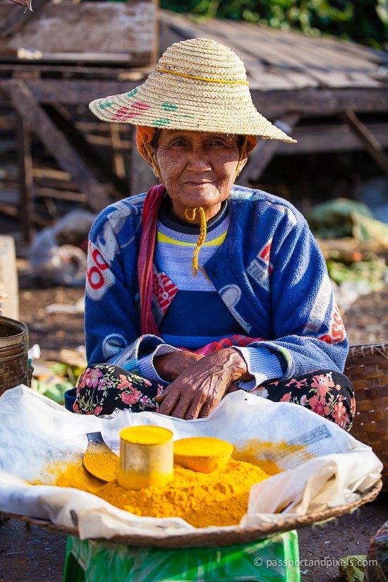 Turmeric seller, Kalaw market, Myanmar