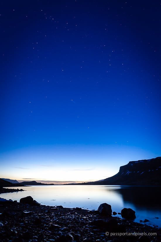 Hvalfjörður fjord at night