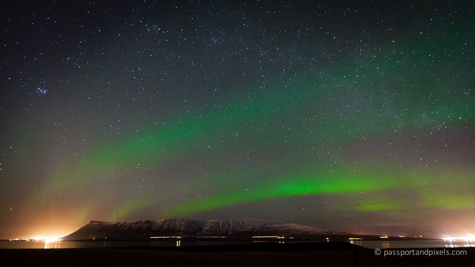 Green Northern Lights over Iceland