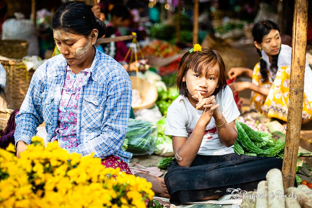 Flower seller, Nyaung U Market, Bagan