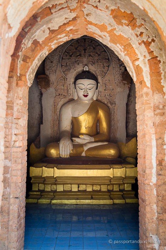 Gold buddha in Bagan, Myanmar