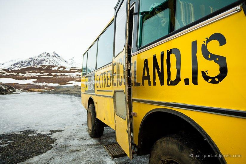 Iceland glacier hike bus