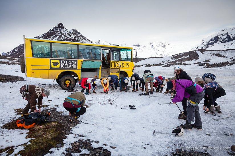 Iceland glacier hike - putting on crampons