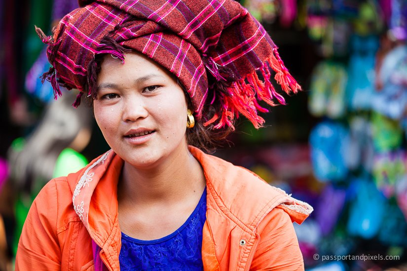 Shan woman in colourful turban, Kalaw market