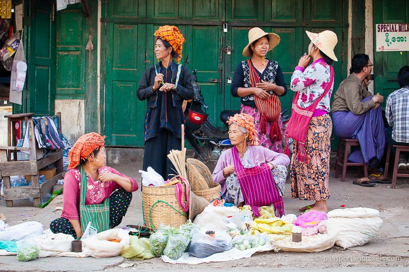 Women selling their wares on the street, Kalaw market