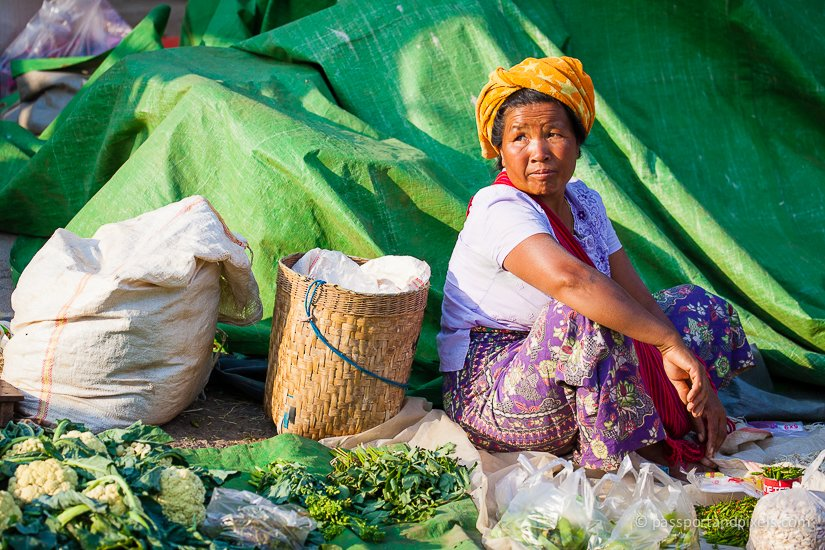 Vegetable seller, Kalaw market, Myanmar