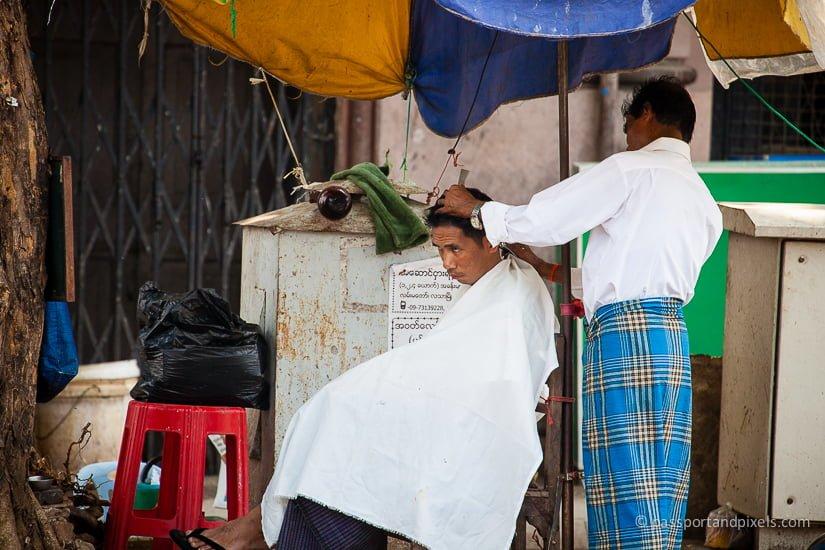 Barber, 26th Street Market, Yangon, Myanmar