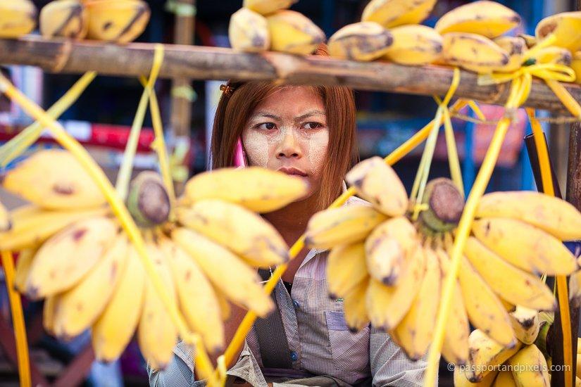 Banana seller, 26th Street Market, Yangon, Myanmar