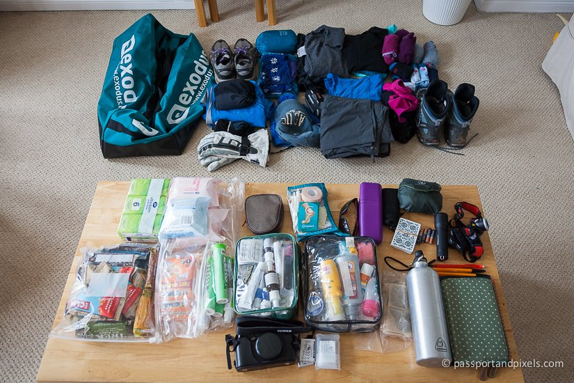 Everything on my Kilimanjaro packing list, all laid out