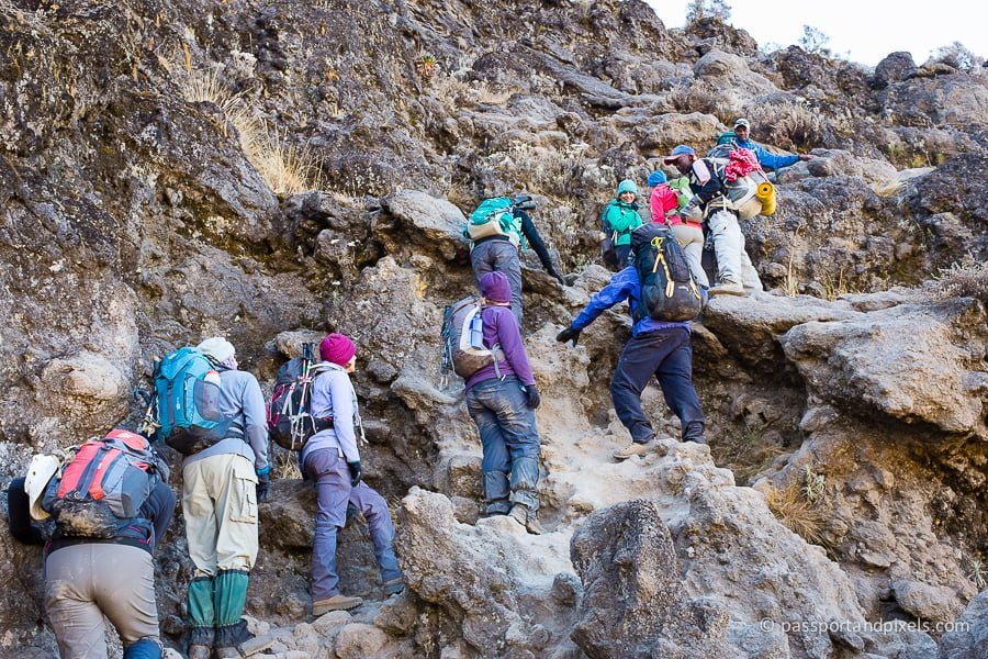 Climbers tackle the Barranco Wall on Kilimanjaro