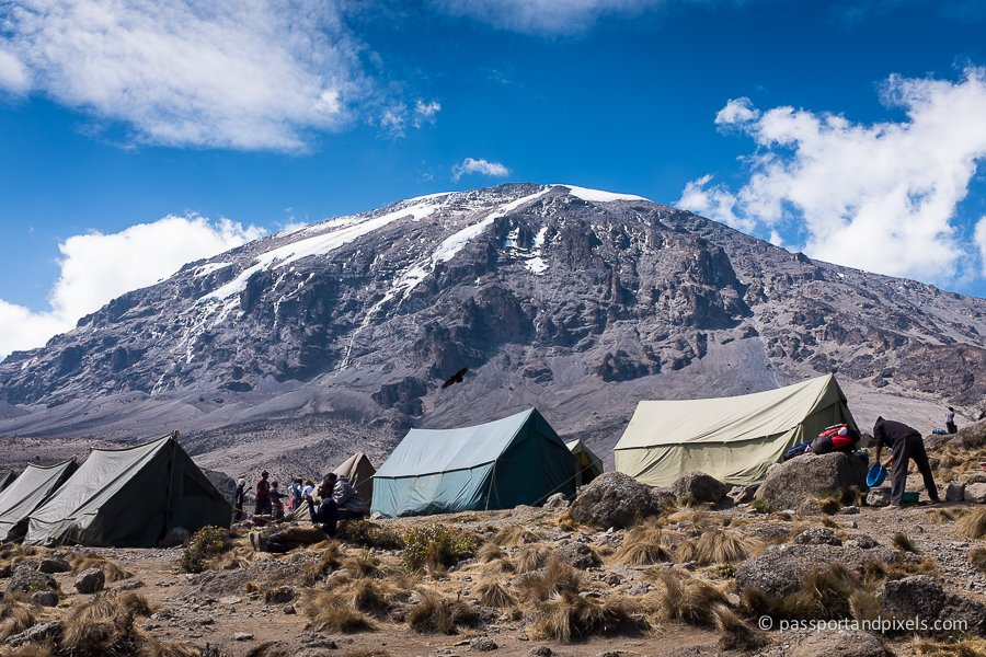 Karanga campsite with Kilimanjaro in the background