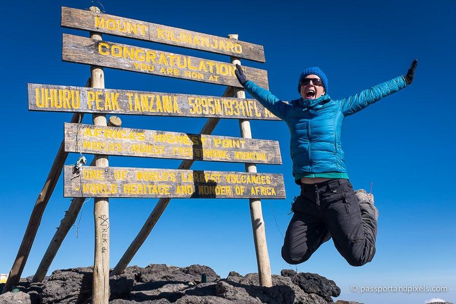 The famous Uhuru Peak sign at the top of Kilimanjaro