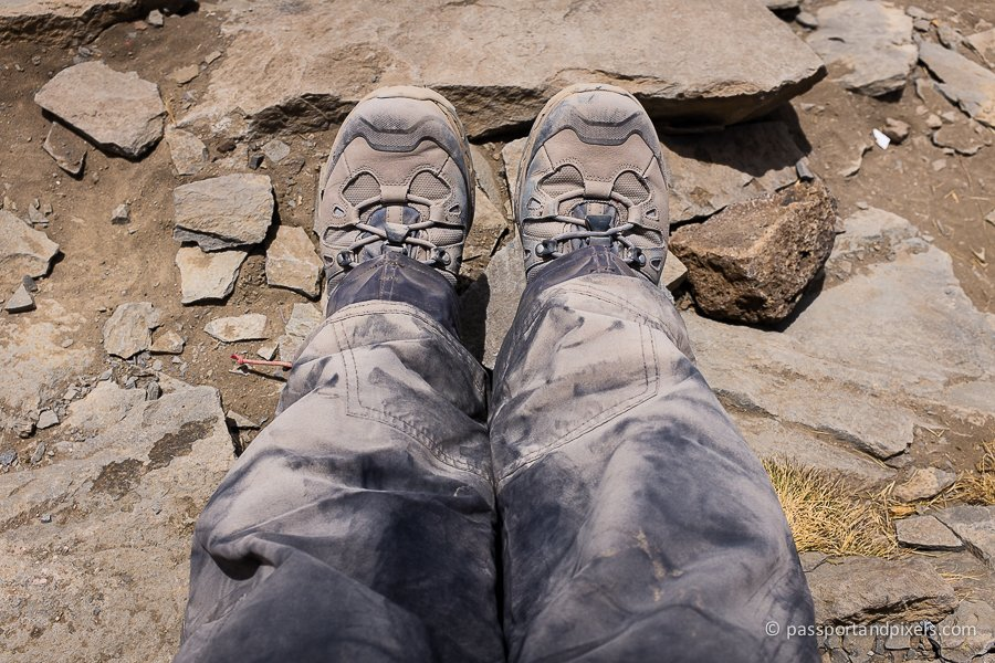 Dusty hiking boots on Kilimanjaro