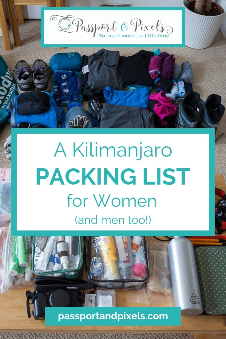 Women's Kilimanjaro packing list
