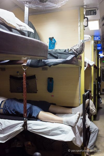 Bunks on a night train, India