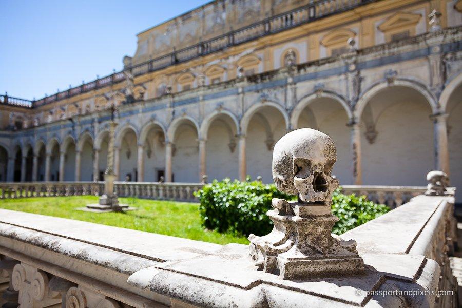 Skull statue at Certosa di San Martino