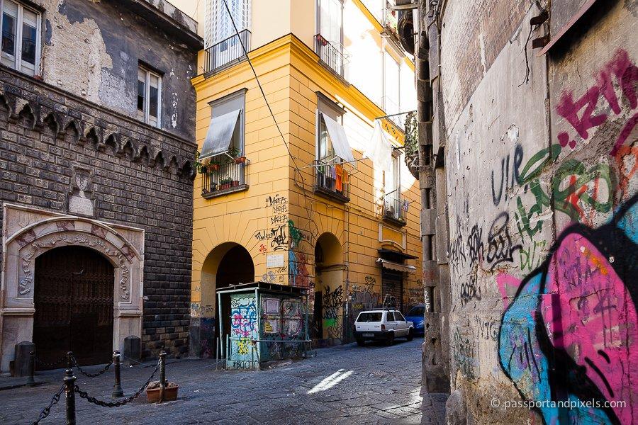Graffiti-painted street, Naples