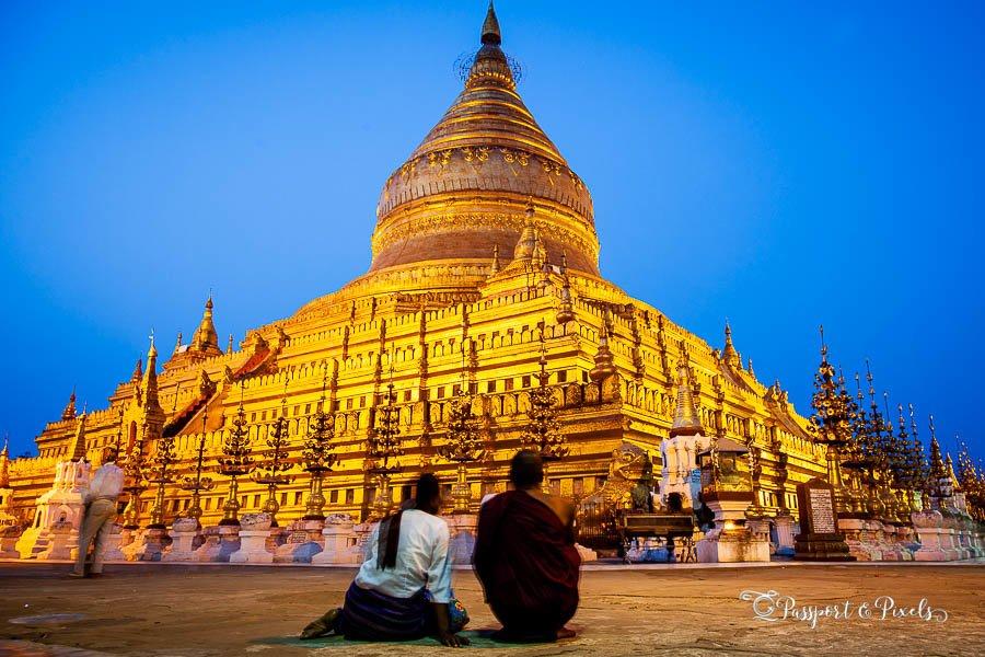 A Buddhist monk and his pupil at Schwezigon Pagoda, Bagan