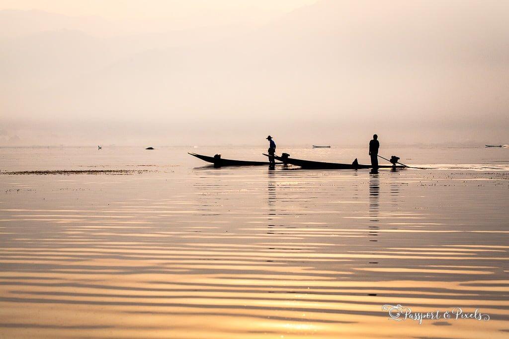 Fishermen at sunrise, Inle Lake, Myanmar