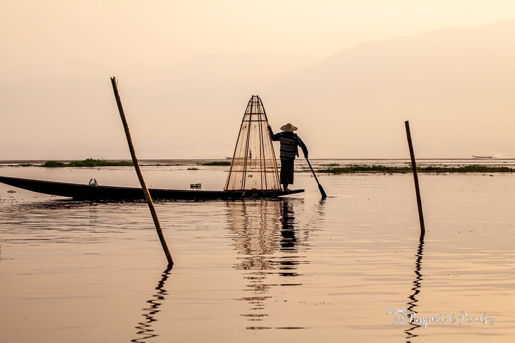 A fisherman with his net, Inle Lake, Myanmar