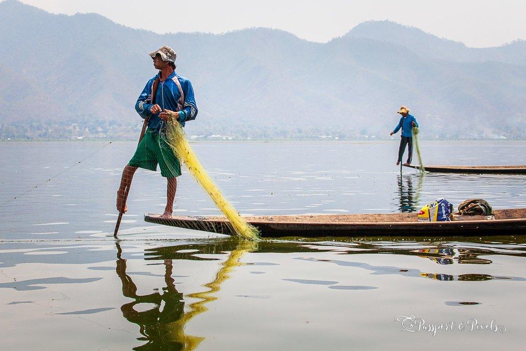 Leg-rowing fishermen hard at work, Inle Lake, Myanmar