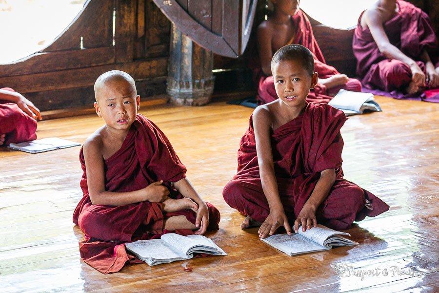 Novice Buddhist monks at Shwe Yan Pyay monastery, Kalaw