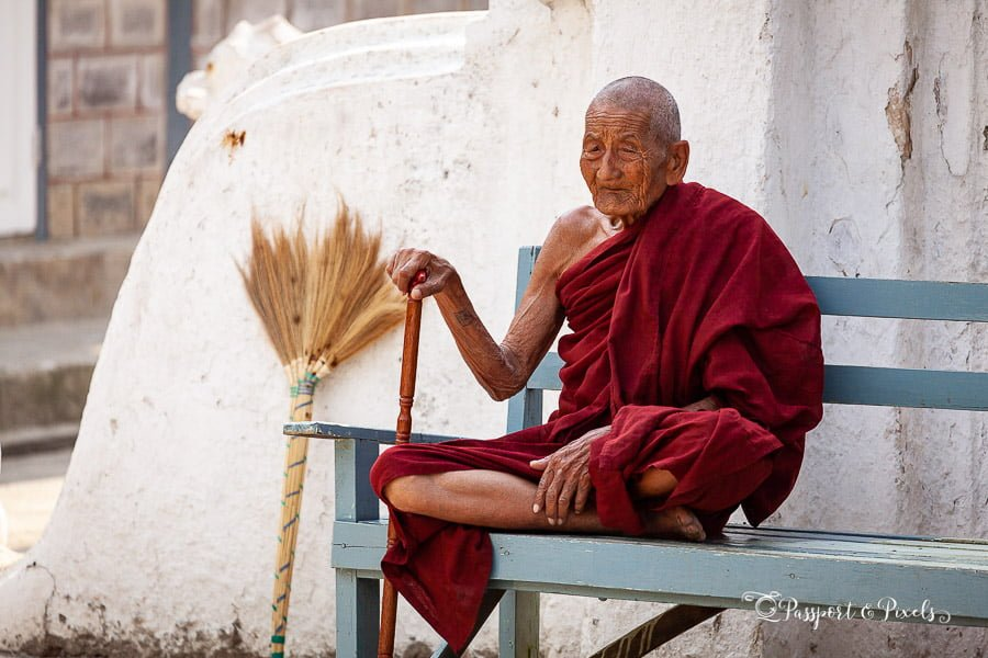Elderly Buddhist monk at Shwe Yan Pyay monastery, Kalaw