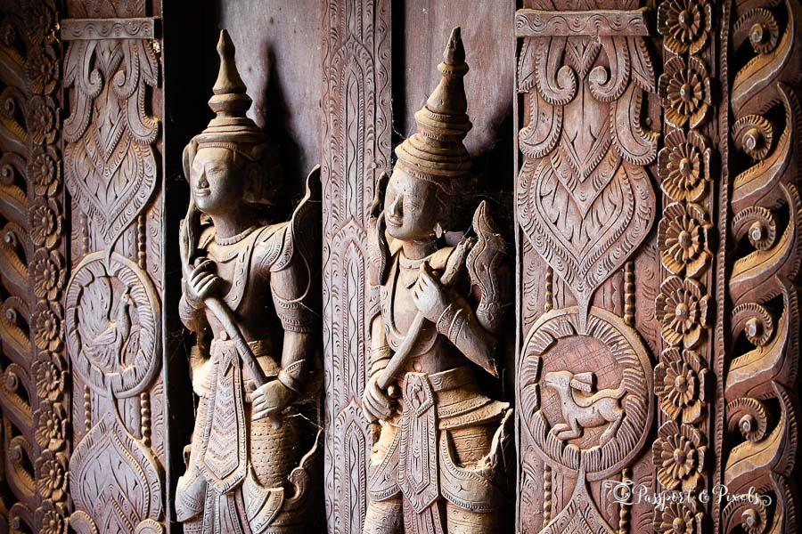 Carvings of nats at Shwe Inn Bin monastery, Mandalay