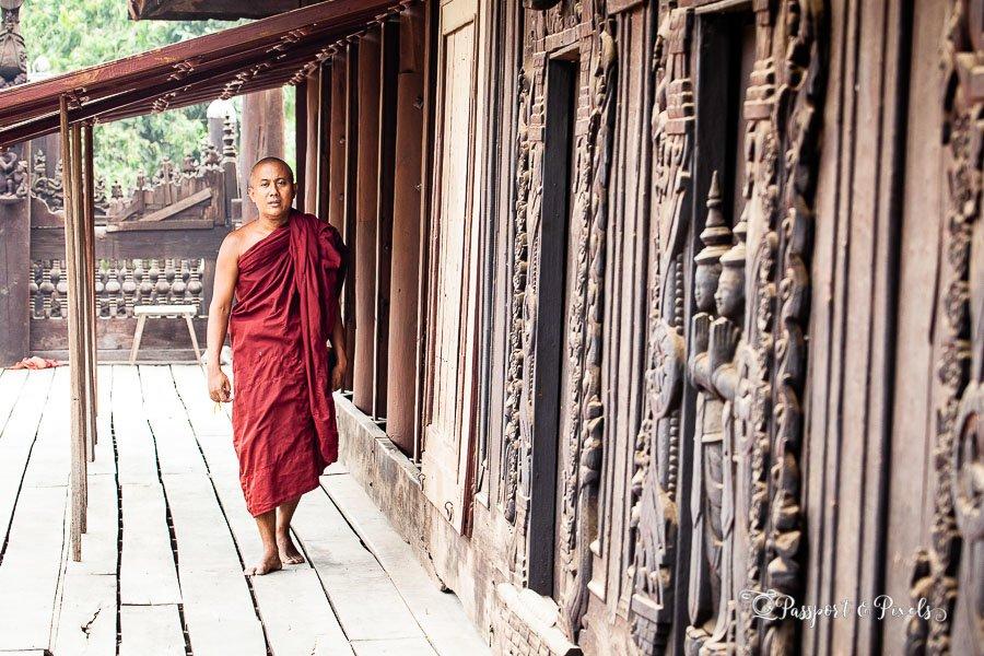 A Buddhist monk at prayer at Shwe Inn Bin monastery, Mandalay