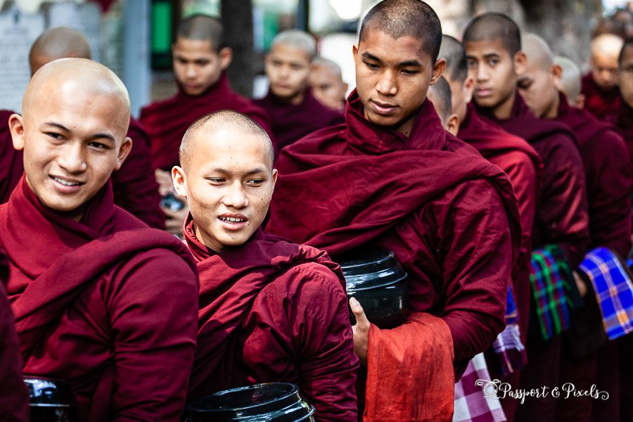 Buddhist monks queuing for lunch at Mahagandayon Monastery, Mandalay, Burma