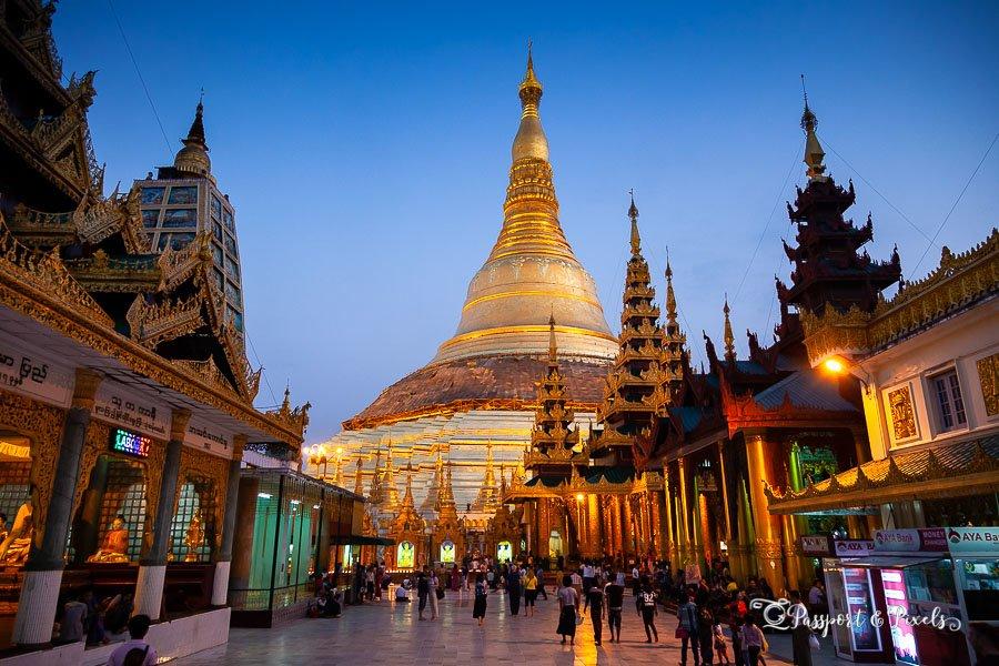 Shwedagon Pagoda, a Buddist temple in Yangon, Burma