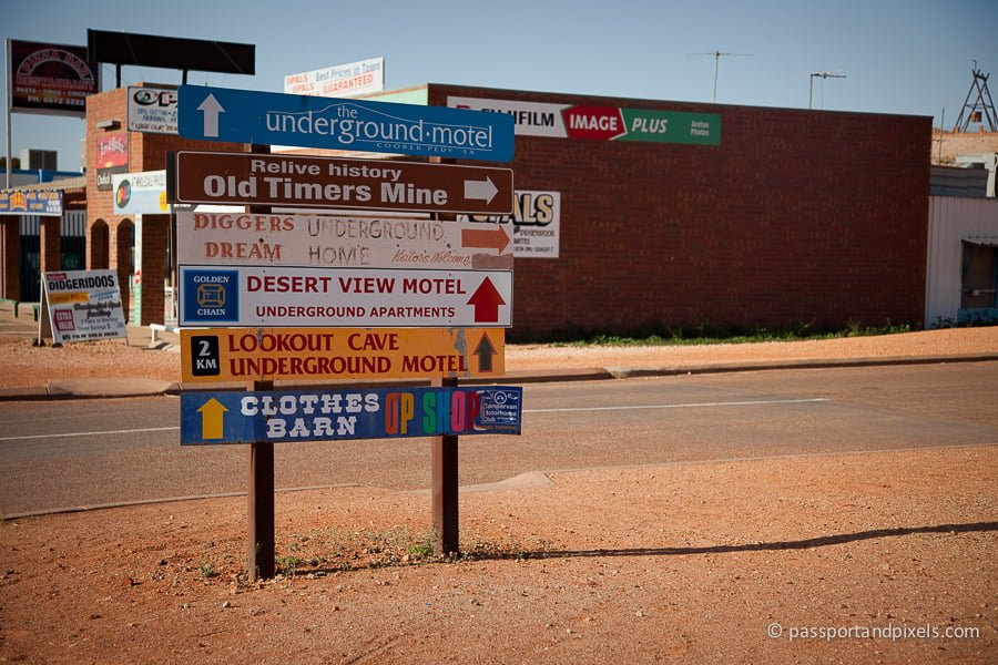 Signs point the way to the Coober Pedy underground hotels