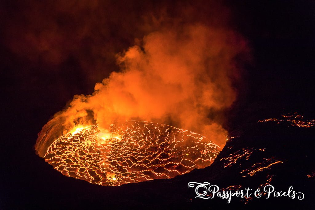 The lava lake on Mount Nyiragongo volcano in the Congo
