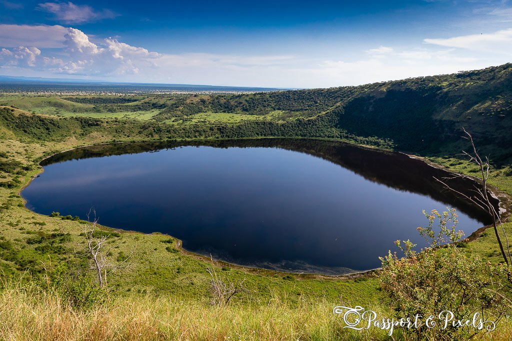 A volcanic crater lake in Queen Elizabeth Park, Uganda