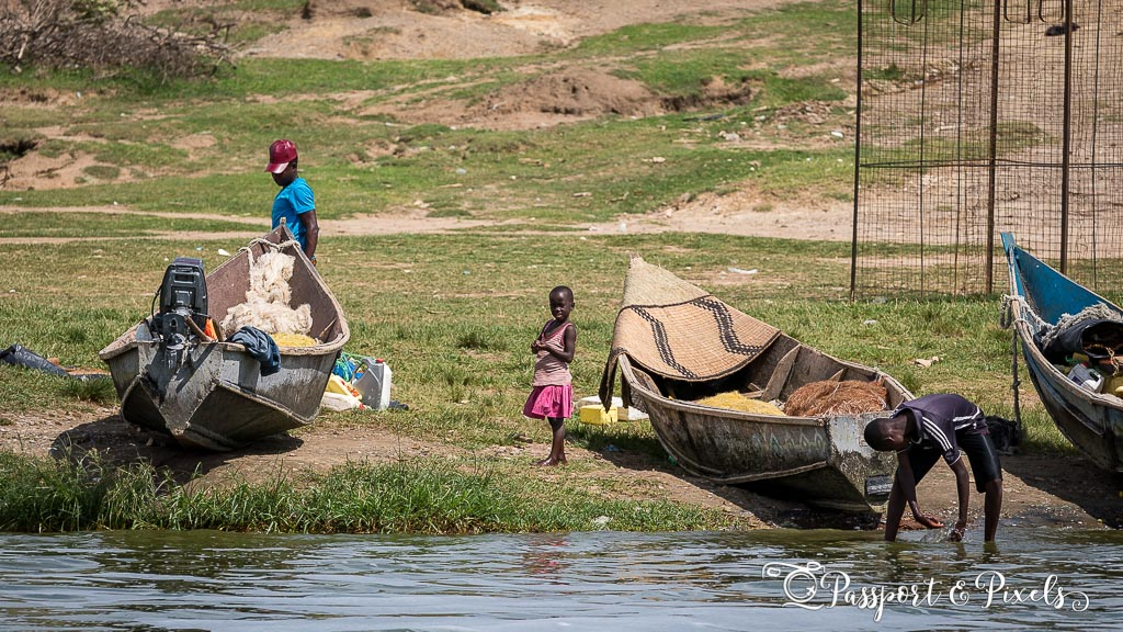 Fishing village on the Kazinga Channel, Uganda