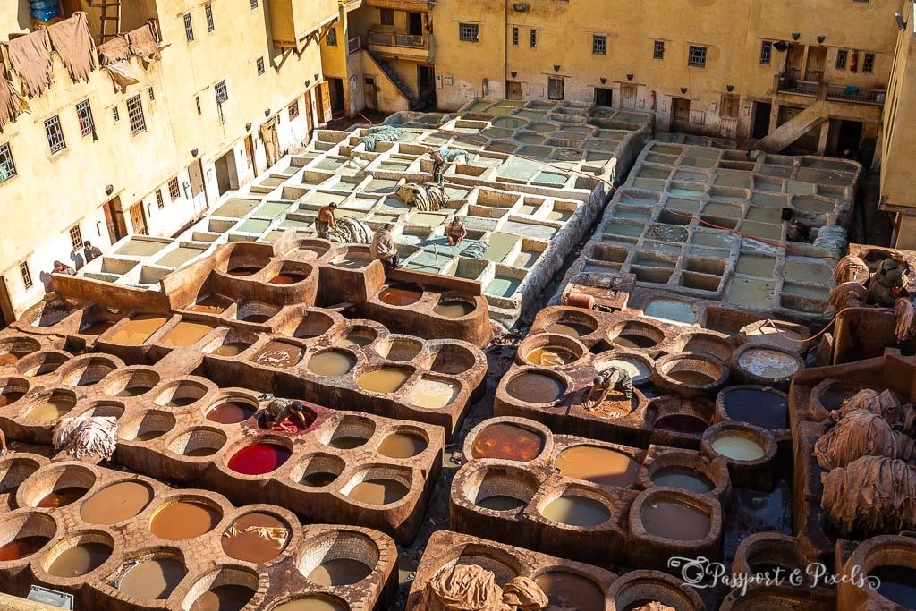 Colourful vats of dye in the sunshine at Chouara Tannery