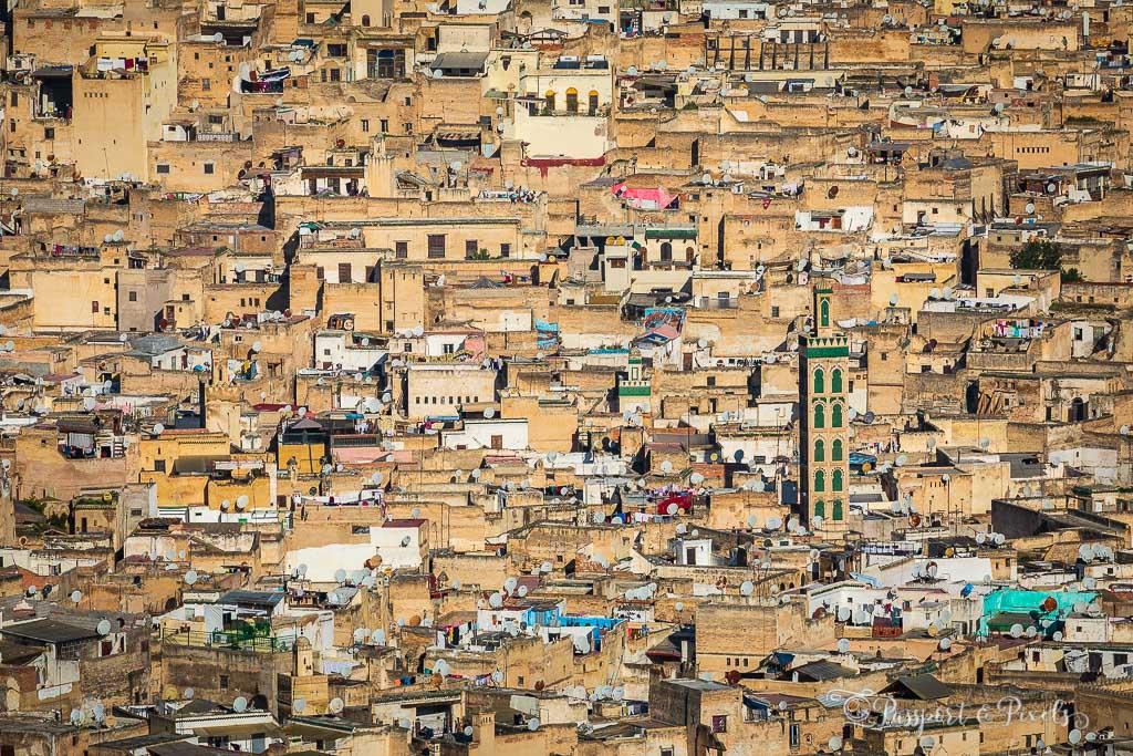 Crowded buildings inside Fes medina
