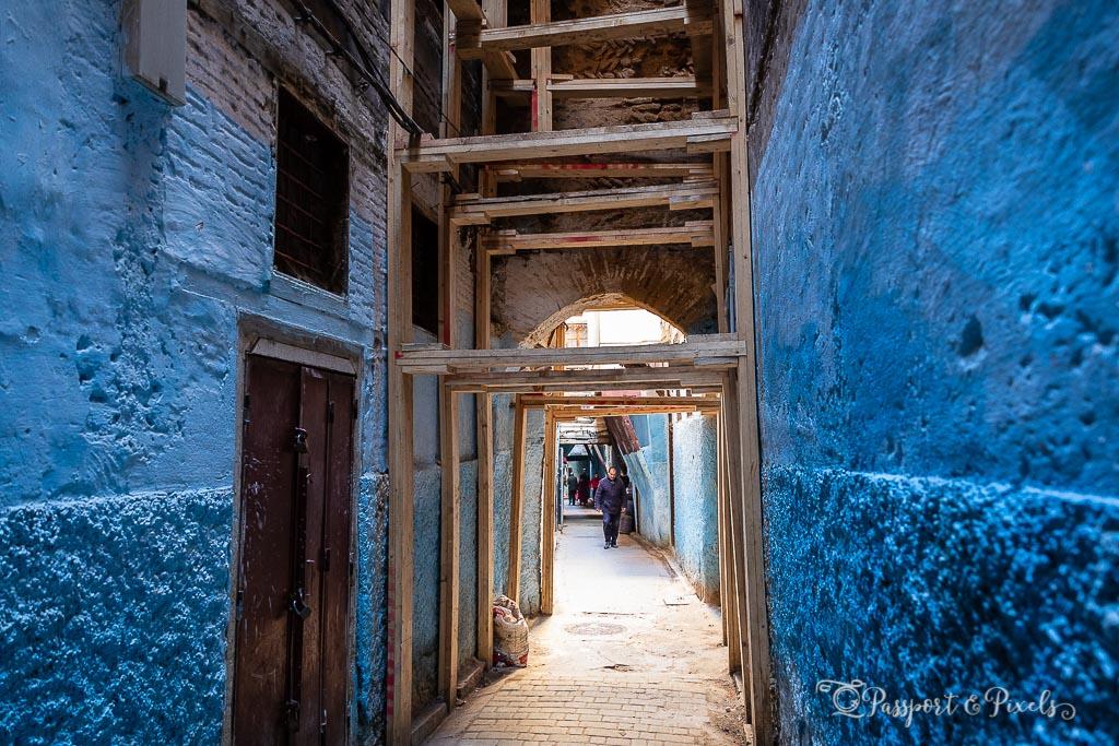 A narrow alleyway inside Fes medina