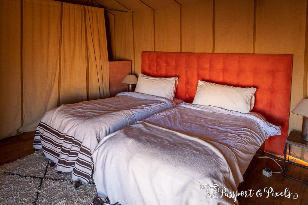 Inside our luxury tent at Merzouga Desert Camp