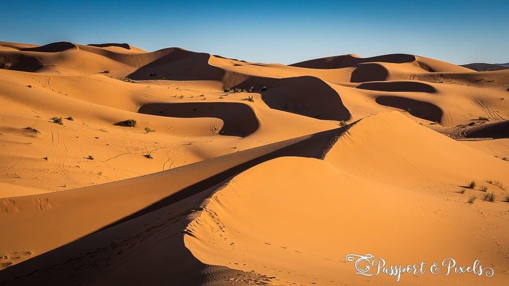 Rolling sand dunes of the Sahara Desert, Morocco