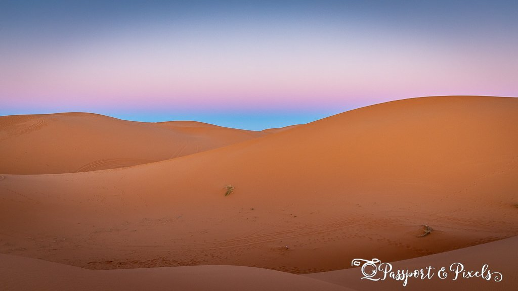 Blue hour over the Sahara Desert, Morocco