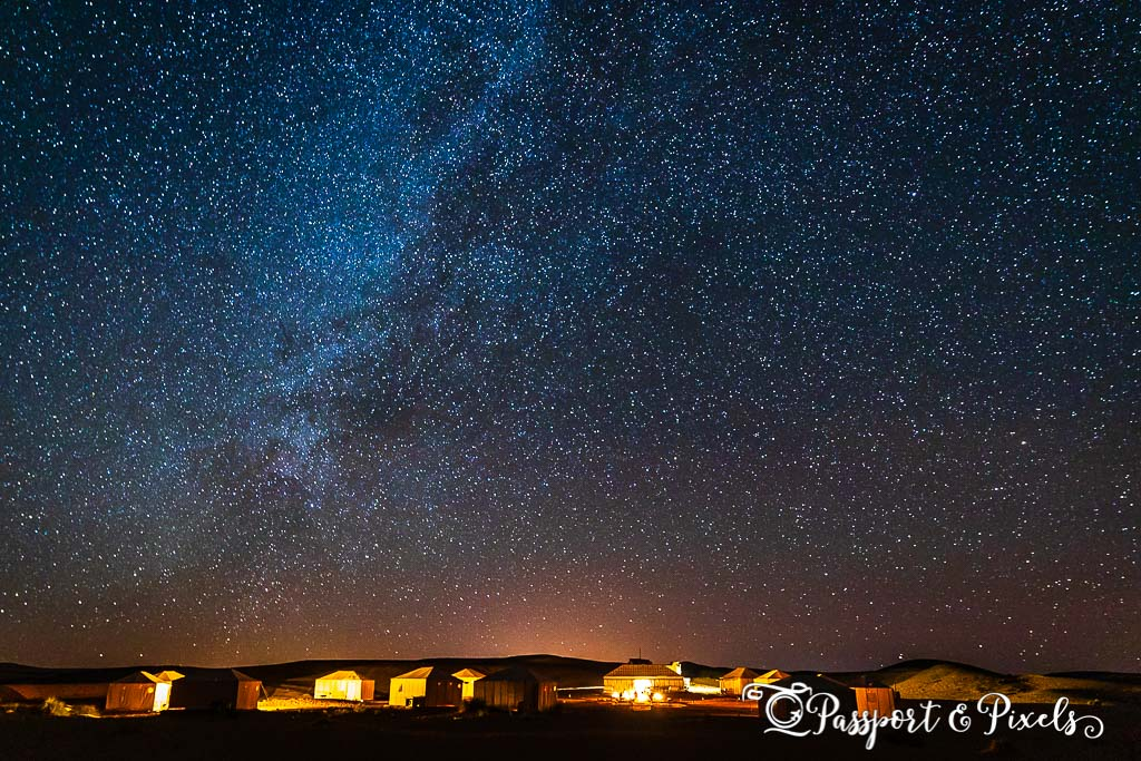 A Sahara Desert campsite under the Milky Way