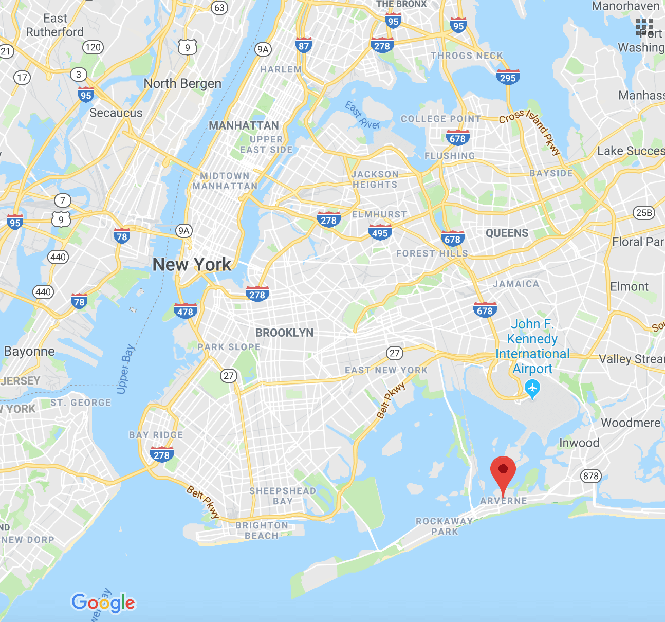 Map showing location of the Rockaways