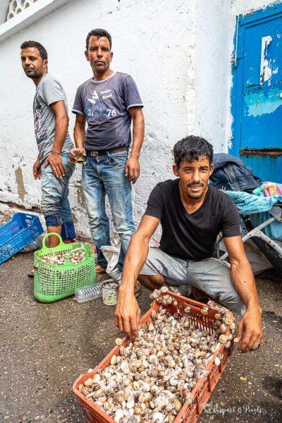 Vendors selling live snails, Nabeul, Tunisia
