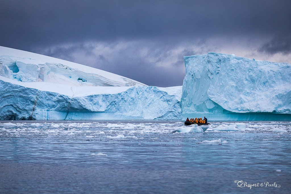 Antarctic photography - icebergs and zodiac
