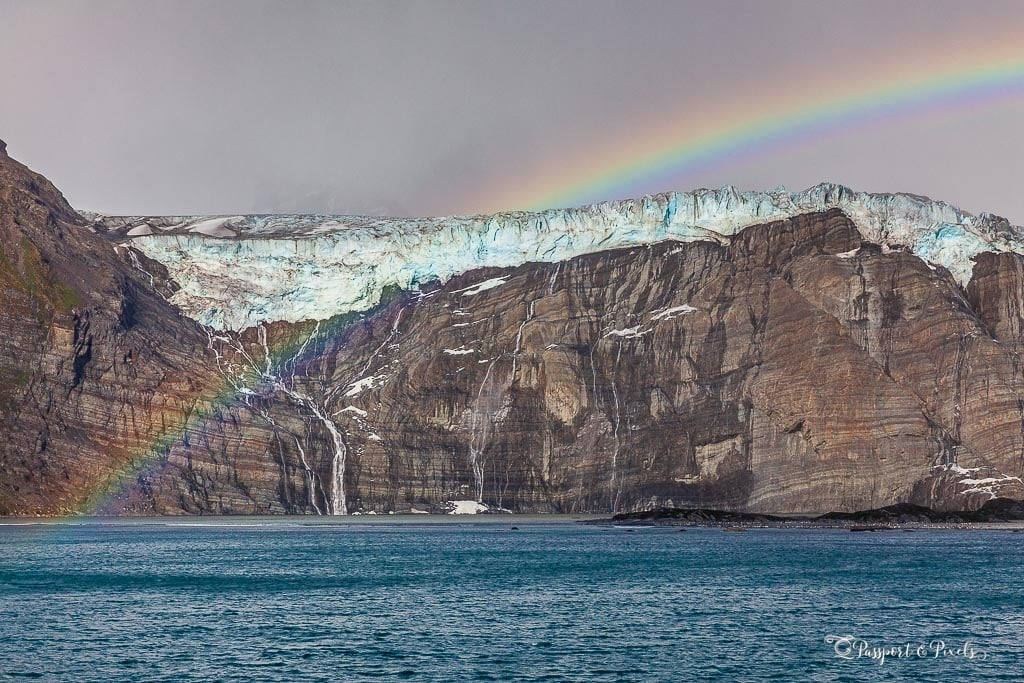 A rainbow over the glacier at Gold Harbour, South Georgia