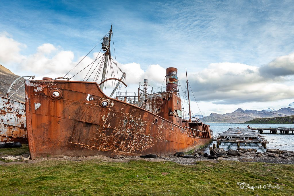 A rusted whaling ship at Grytviken, South Georgia Island