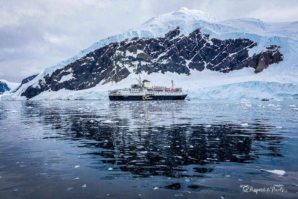 An expedition ship in Neko Harbour, Errera Channel, Antarctica