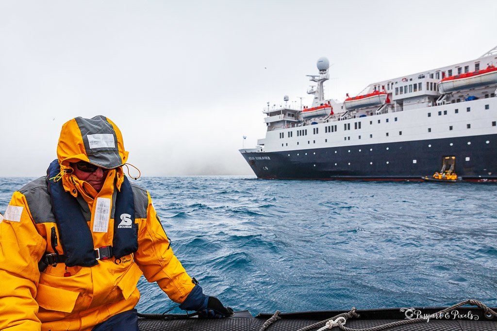 Expedition cruise ship passenger on a zodiac