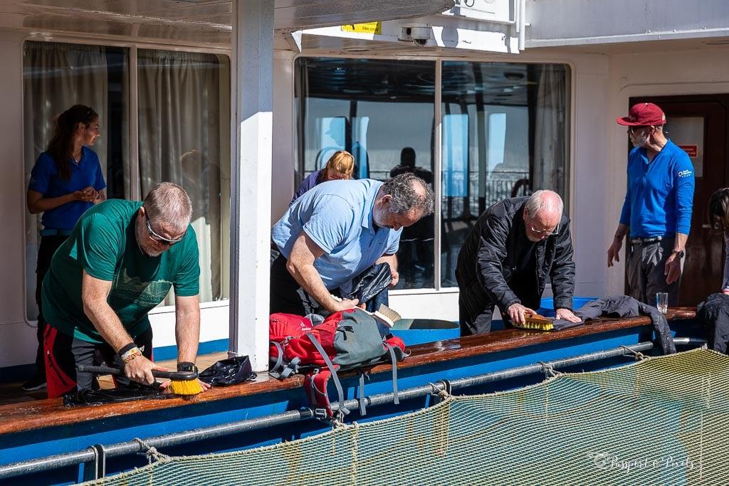 Scrubbing gear for bio security on a South Georgia cruise
